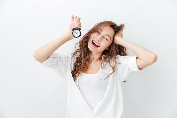 Portre gülümseyen kadın küçük saat yalıtılmış Stok fotoğraf © deandrobot