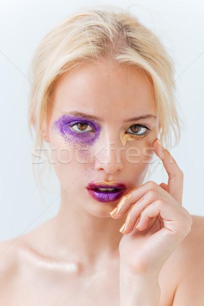 Stock fotó: Szépség · portré · vonzó · szőke · nő · lány · kreatív