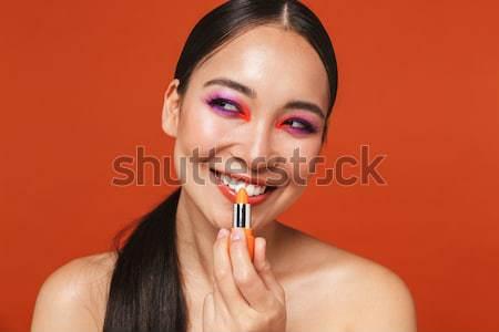 érdekes nő ruha közelkép portré fekete Stock fotó © deandrobot