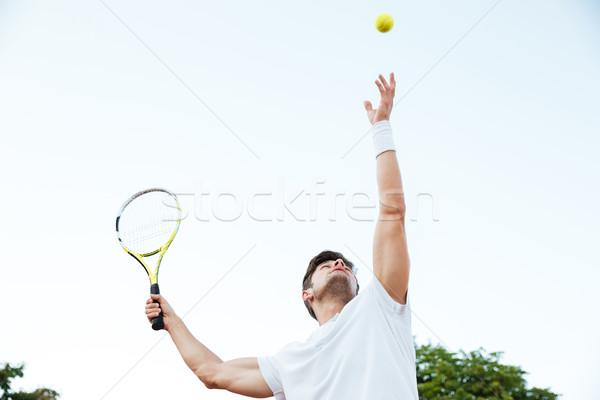 Teniszező játszik fotó férfi sport haj Stock fotó © deandrobot