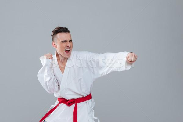 Stock fotó: Sportoló · kimonó · gyakorol · karate · pózol · sikít