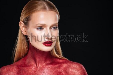 Modell szokatlan testművészet közelkép fekete lány Stock fotó © deandrobot