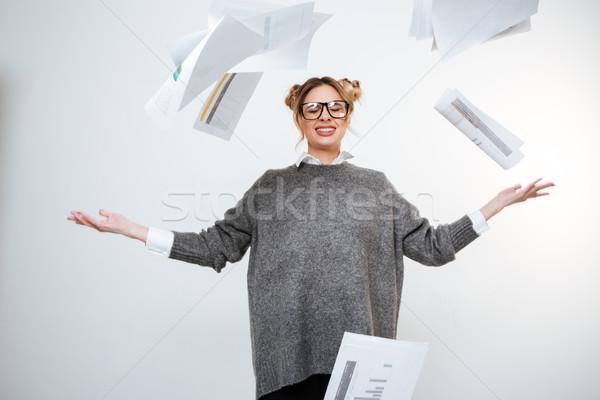 Fáradt hangsúlyos nő szemüveg dob iratok Stock fotó © deandrobot