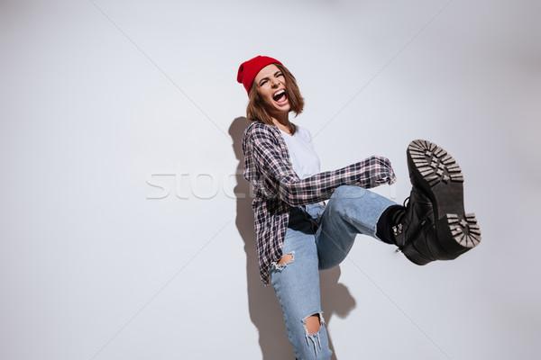 Jonge dame shirt kooi print afbeelding Stockfoto © deandrobot