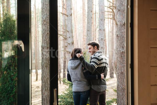 pretty couple near forest Stock photo © deandrobot