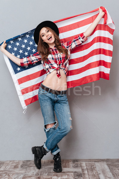 Portrait patriotique fille USA Photo stock © deandrobot