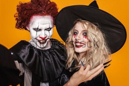 Mutlu kadın halloween kostüm süpürge Stok fotoğraf © deandrobot