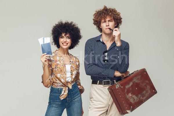ретро любящий пару чемодан паспорта Сток-фото © deandrobot