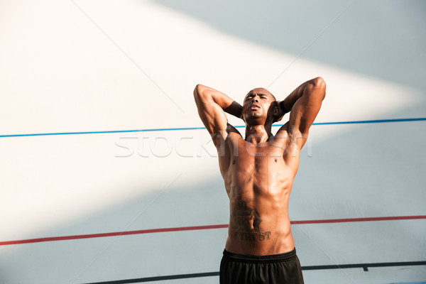 Ritratto bello african runner riposo eseguire Foto d'archivio © deandrobot