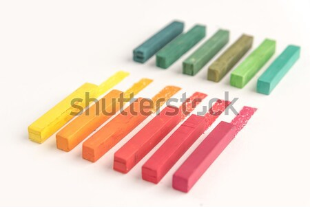 Close up of square colorful pastel chalks and their pigments Stock photo © deandrobot