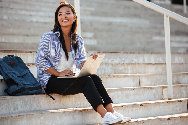 Young pretty cheerful asian student, holding laptop, while sitti Stock photo © deandrobot