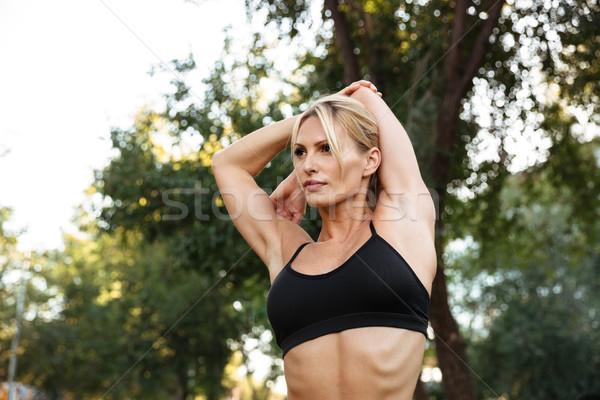 удивительный сильный молодые спортивных женщину Сток-фото © deandrobot
