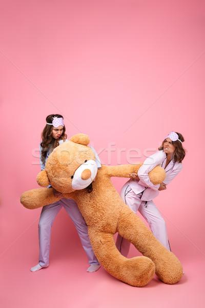 недовольный друзей женщины пижама большой мишка Сток-фото © deandrobot