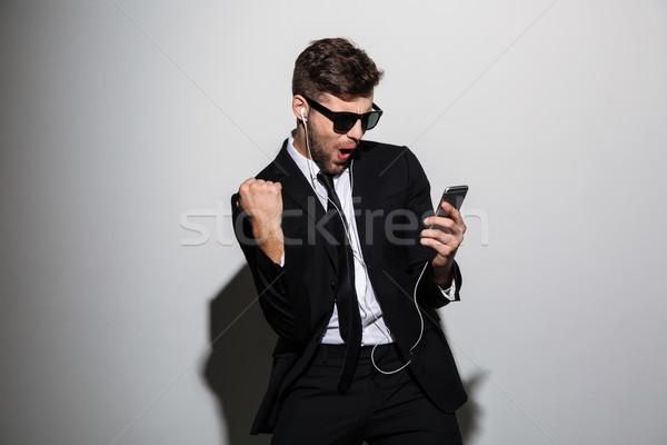 肖像 幸せ 満足した 男 スーツ ネクタイ ストックフォト © deandrobot