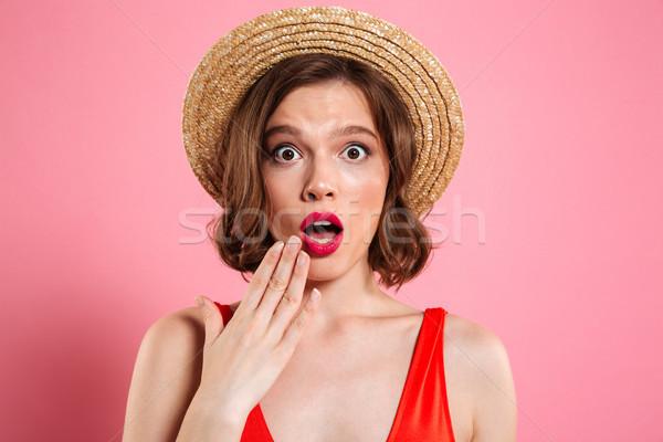 Közelkép portré megrémült csinos lány visel Stock fotó © deandrobot