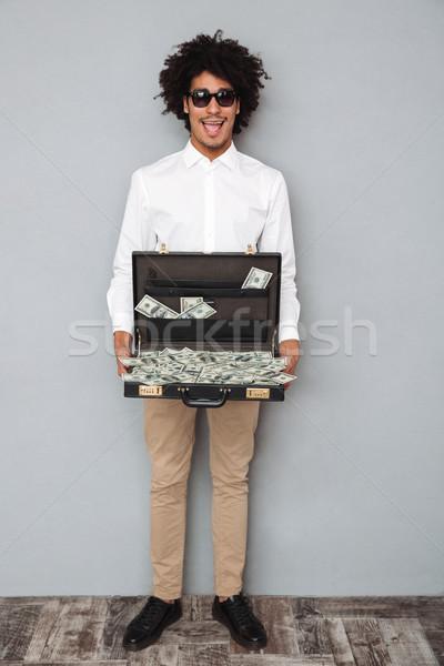 肖像 幸せ 興奮した アフロ アメリカン ストックフォト © deandrobot