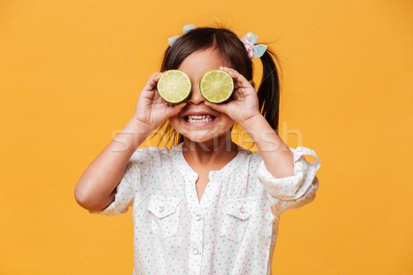 かわいい 少女 子 目 石灰 ストックフォト © deandrobot
