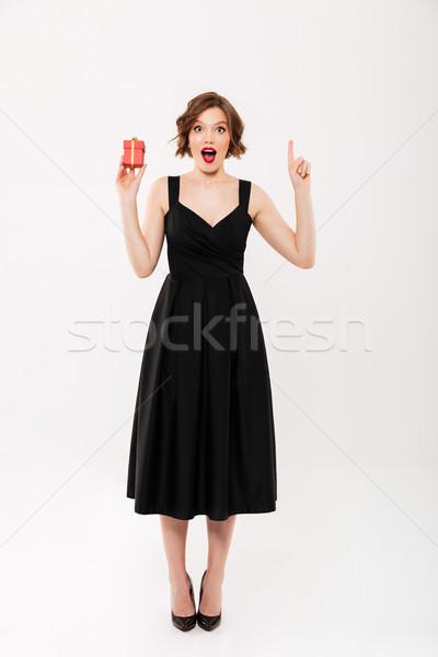 Tam uzunlukta portre heyecanlı kız siyah elbise Stok fotoğraf © deandrobot