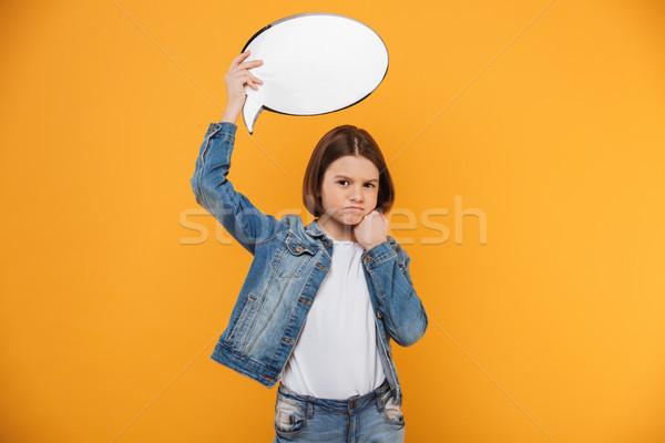 Portret zdenerwowany mały uczennica pusty Zdjęcia stock © deandrobot