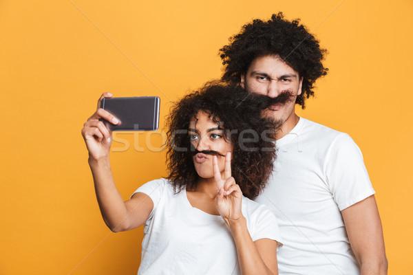 Portré vicces fiatal afro amerikai pár Stock fotó © deandrobot