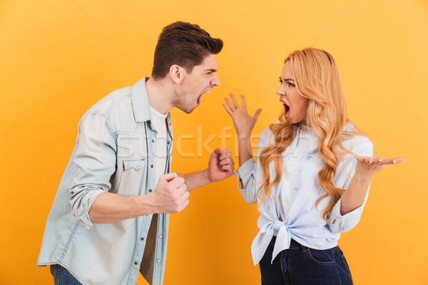 Photo of furious man and woman in denim clothes screaming at eac Stock photo © deandrobot