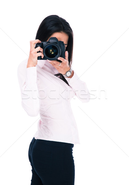 Woman photographer with camera Stock photo © deandrobot