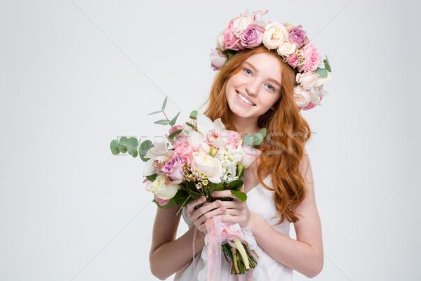 Stockfoto: Glimlachend · aantrekkelijk · jonge · vrouw · krans · boeket