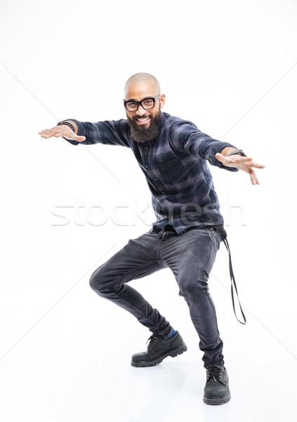 Сток-фото: счастливым · афроамериканец · человека · очки · танцы