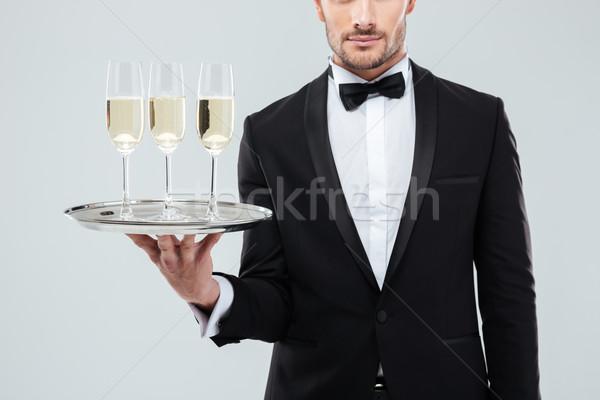ウェイター タキシード トレイ 眼鏡 シャンパン ストックフォト © deandrobot