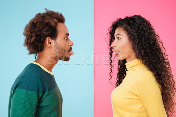Grappig afro-amerikaanse tonen ander man Stockfoto © deandrobot