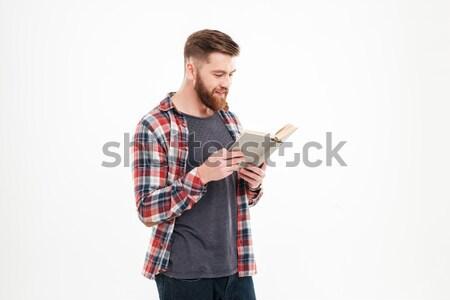 ストックフォト: 悲鳴 · あごひげを生やした · 男 · シャツ · スマートフォン