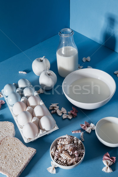 молоко Печенье яблоки Ломтики хлеб яйца Сток-фото © deandrobot