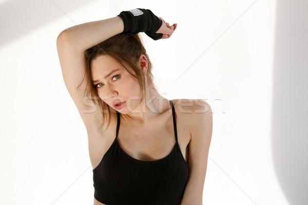 Zagęszczony dość młodych sportowe pani stwarzające Zdjęcia stock © deandrobot