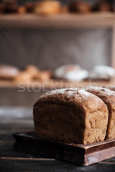 Brood meel donkere houten tafel foto bakkerij Stockfoto © deandrobot