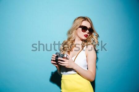 Serios femeie luminos buzele machiaj imagine Imagine de stoc © deandrobot