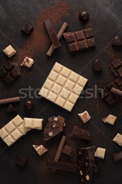 Stock fotó: Nagy · választék · csokoládé · rácsok · darabok · fából · készült