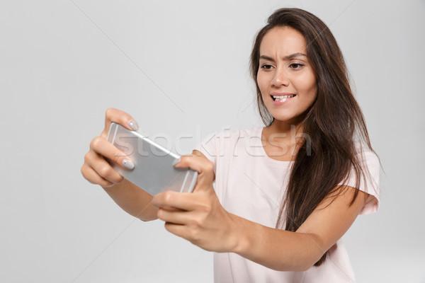 Portret mooie enthousiast asian vrouw Stockfoto © deandrobot