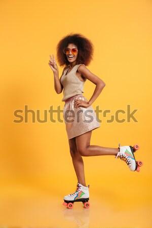 Portrait heureux afro femme Photo stock © deandrobot