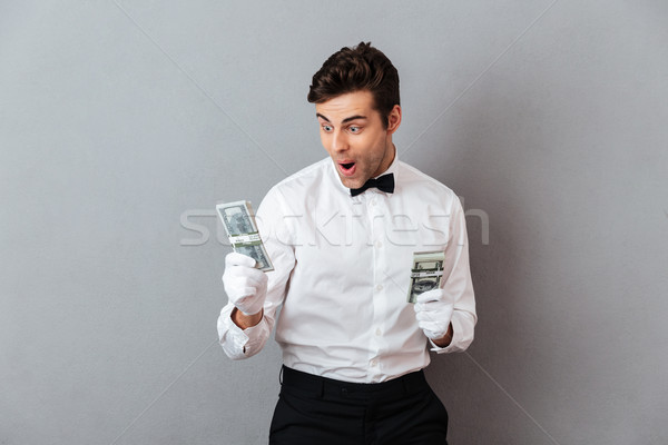 Foto stock: Retrato · exitoso · alegre · masculina · camarero