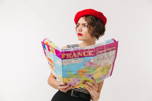 Portrait perplexe femme rouge béret Photo stock © deandrobot