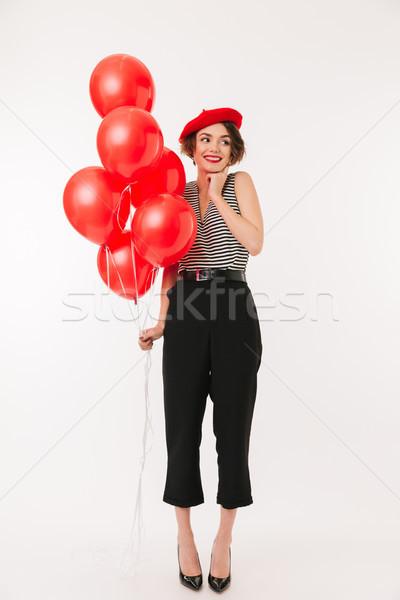 портрет улыбающаяся женщина красный берет Сток-фото © deandrobot
