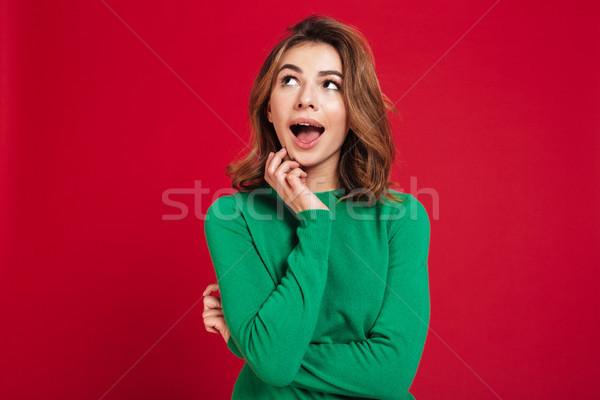 Meglepődött álmodik fiatal csinos nő kép áll Stock fotó © deandrobot