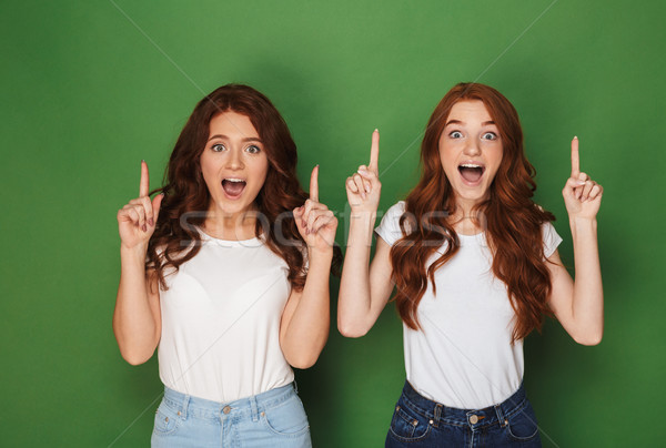 Portrait of two young redhead women 20s in white t-shirts smilin Stock photo © deandrobot