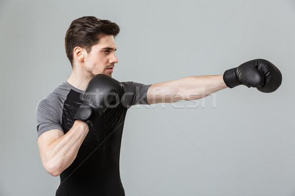 Geconcentreerde jonge bokser sport Stockfoto © deandrobot