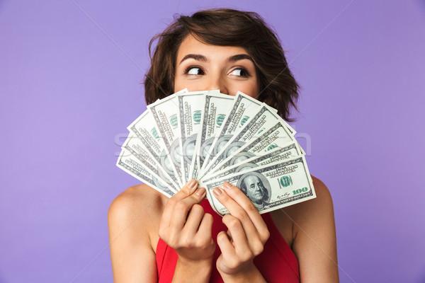 счастливым довольно брюнетка женщину лице деньги Сток-фото © deandrobot