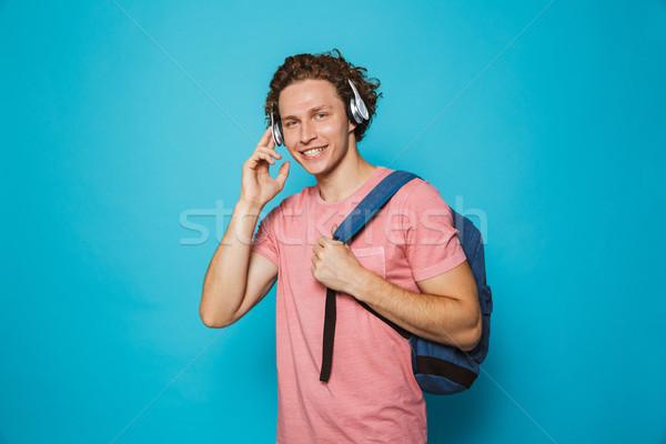 Portre mutlu gülen adam kıvırcık saçlı Stok fotoğraf © deandrobot