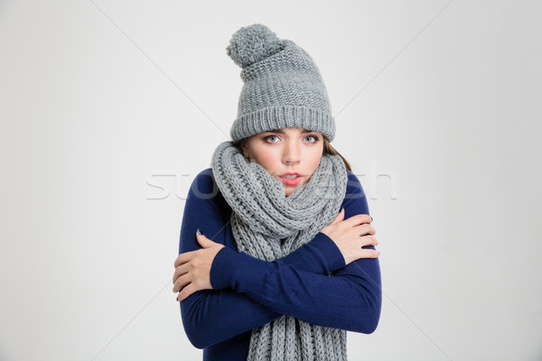 Portrait of a freezing woman in winter cloth Stock photo © deandrobot