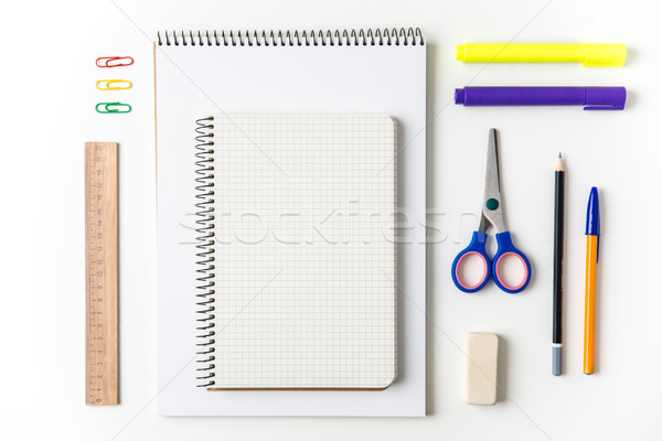 Top view of school and office supplies set  Stock photo © deandrobot