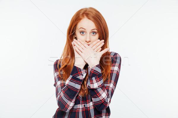 женщину ладонями изолированный белый лице Сток-фото © deandrobot