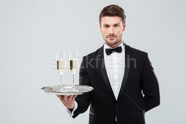 Butler smoking dienblad twee bril Stockfoto © deandrobot